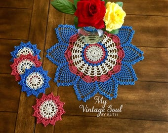 Pineapple Crochet Doily and Coasters - Flower Doily - Flower Coasters - Rustic Doilies - Pineapple Doily - Wedding Gift - Crochet Lace Doily
