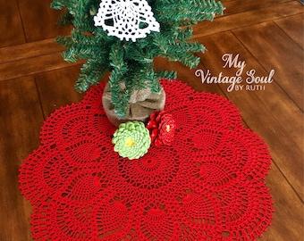 Custom listing for two red doilies  - Coffee Table Doily - Christmas Crochet Doily - Handmade Doilies - Rustic Decor - Table Decor -