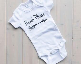 Beach Please Onesie, Beach Onesie, Baby Fashion, Baby Shirt, Lake Baby Onesies, Beach Baby Shirt, BoHo Baby Onesies