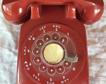 Retro Toy Rotary Phone, Plastic, Playhouse, Miniature Telephone, Dollhouse, Salesman Sample, Red Phone