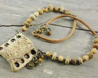 Essential Oils Diffuser Necklace in Sand Pottery with Picture Jasper