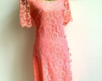 1950's Pink Lace Dress by Miss Melinda (Size: UK 10 - 12)