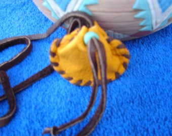 NATIVE AMERICAN Leather Necklace Bag Deerskin Leather Medicine  Bag Medicine Pouch 1.00 shipping