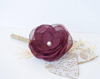 Burlap Groomsmen Boutonnieres Burgundy Dark Red  Boutineers for Wedding - Button Buttonholes - Lace Boutonniere, Groom  Keepsake Flower