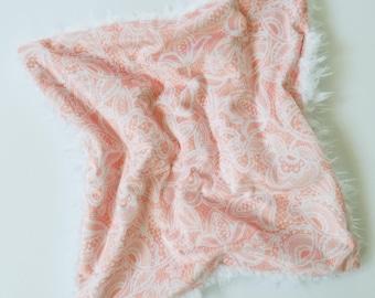 Blush Lace Lovey, Baby Girl Lovey, Minky lovey, Baby Girl Blanket, Minky Blanket, Toddler Lovey, Baby Girl Gift, Pink Blanket, Baby Blanket