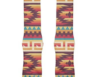 Native American Pattern Red All Over Crew Socks