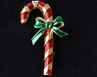 Vintage Gerrys Candy Cane Christmas Holiday Brooch Signed Retro Coat Sweater Pin