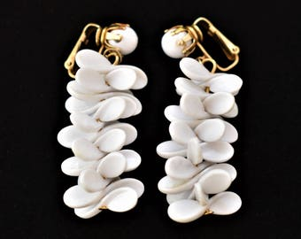 """60s White Boho Beaded Cluster Statement Dangle Earrings Clip On Marked Hong Kong Mid Century Retro Costume Jewelry 2"""""""