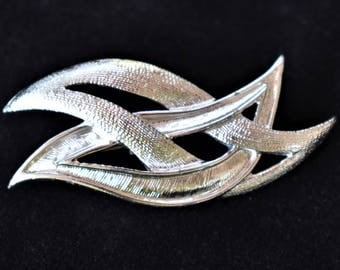 Vintage Abstract Geometric Modernist Brooch Art Deco Style Silver Tone Minimalist Coat Sweater Pin Retro Costume Jewelry 2""
