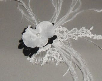 black and white wedding hair comb