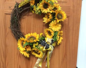 "Sunflower wreath 18"" grapevine"