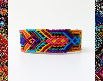 Woven Friendship Bracelet Indian Ornaments Tribal Ethnic Native Colorful Rainbow Mexican Mayan Aztec thick wide lokai - Q'enqo Bracelets
