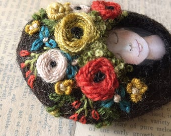 Textile Art, Wool Embroidery Art, Floral Embroidery, Art Wool Felted Stone, Good Vibes Only, OOAK Art, Flower Embroidery Art, Tranquil Art