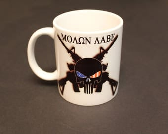 Punisher, Punisher mug, Molon Labe, Come and take Them, come and take, 2nd amendment, cross rifles, America, USA, Gift for, Molon Labe Mug
