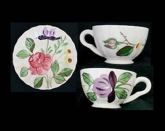 Blue Ridge Cup and Saucer JUNE BOUQUET Set ET Bargain Beauty Southern Potteries Dinnerware Purple Yellow Pink (B1) 7740