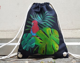 Parrot Palms - hand-painted organic - gym bags