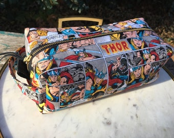 Toiletry Bag - Thor Comics- Pencil and Electronics case- Marvel - Avengers- Thor Ragnarok - Retro Comics - Mjolnir- Valentine's Day Gift