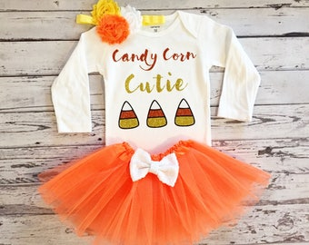 Candy Corn Cutie 1st Halloween Outfit Baby Girl Halloween Outfit Baby Girl Halloween Costume Orange Tutu Baby Girl Halloween Outfit Toddler