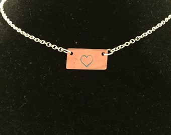 Stamped copper necklace
