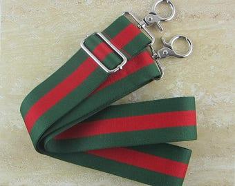"62"" Green Red Striped Nylon Webbing Strap 2"" wide Adjustable Bag Strap"