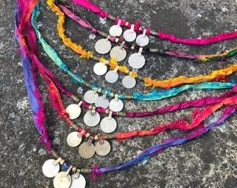 Kuchi Coin & Recycled Sari Silk Wrap Bracelet/Anklet