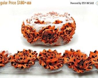 30% OFF ORANGE W/ Black Polka Dots Chiffon Flowers 1/2 Yard or 1 Yard Shabby Flower Trim Frayed Flowers Chic Rosette Trim Flowers Rose Flowe
