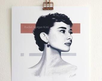 Audrey Hepburn, Portrait, Print, Art Print, Mid Century Modern, Old Hollywood, Sabrina, Breakfast at Tiffany's, actress, geometric,