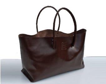 XXL Leather Shopper Large leather bag Einkaufsshopper Shopper XXL Brown Handmade