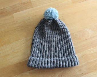 Kids Loom Knitted Beanie w/Pom - READY TO SHIP