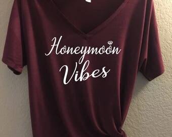 Honeymoon Vibes - Bella Canvas VNeck Slouchy Tee - Bride Shirt, bride to be shirt, honeymoon shirt, honeymoon vibes tee, wedding gift, bride