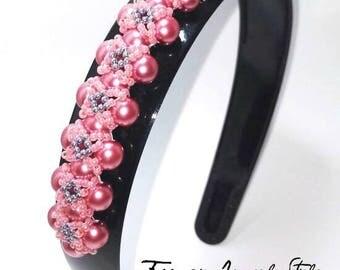 Glossy black plastic Headband: C0101 cod length 38 cm-thickness 2.5 cm