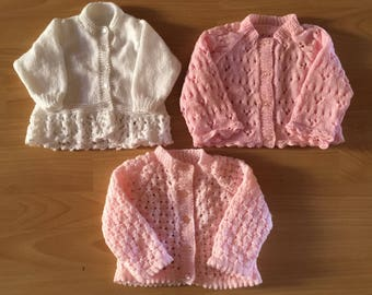 Hand knitted Lacy Baby Cardies