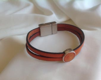 Great burnt orange leather bracelet