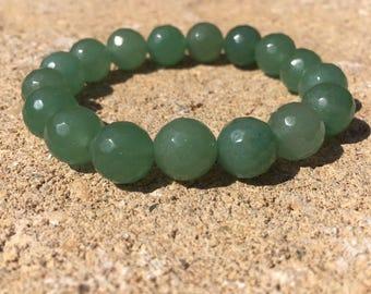 10mm genuine green aventurine bracelet, green bracelet, beaded gemstone stretch bracelet, womens bracelet, 10mm bracelet