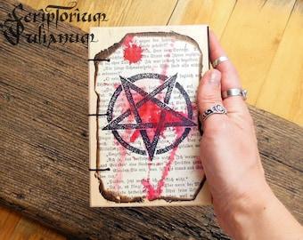 Adverse pentagram journal, inverted pentagram, pentacle, occult book, book of shadows, grimoire, Baphomet, satanic, gothic, satanist gift
