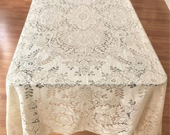 Vintage Bromley Lace Tablecloth Picot Edge Blakely Pattern, Unused Quaker Lace Tablecloth, Vintage Lace Tablecloth, Lace Table Linens