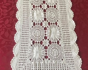 Vintage Crocheted Table Runner White, Cottage Chic Crocheted Table Runner, Crocheted Dresser Scarf, Side Board Scarf, Credenza Scarf
