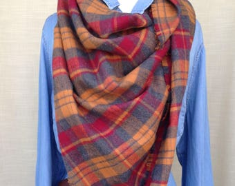 Soft Flannel Plaid Blanket Scarf