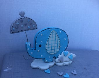 Umbrella elephant cake topper