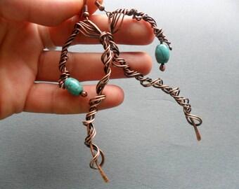 Spiral Swirl Copper wire earrings Turquoise earrings Artisan earrings handmade Wire wrapped earrings Oxidized copper  Wire wrap earrings