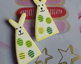Set of 2 embellishments wood white Easter Bunny spring stickers