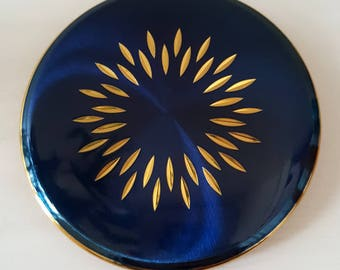 Vintage KIGU Royal Blue Enamel & Gold Tone Mirrored Compact