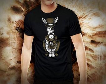 Steampunk white rabbit black t shirt for men, screen printed men's short sleeve tee shirt, Size S, M, L, XL, XXL
