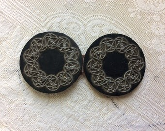 Antique Victorian Cape or Cloak Clasp, Black Celluloid and Silver Filigree