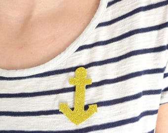 PIN anchor Navy glitter, gold or Navy Blue