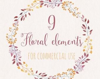Watercolor Floral Set/ Wedding Clip Art / Hand Painted/ DIY/ Aquarelle Floral Elements/ Commercial Use/