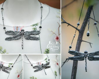Dragonfly Necklace Silver/Black 11x6, 5 cm