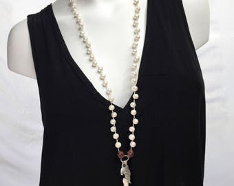 Fresh Water Pearl Tassel Angel Wing Charm Long Necklace #808