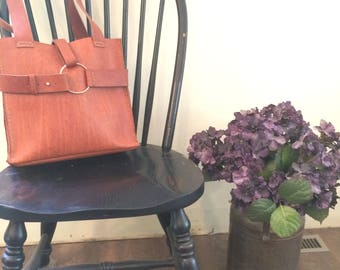 Emeny Tan Leather Handbag