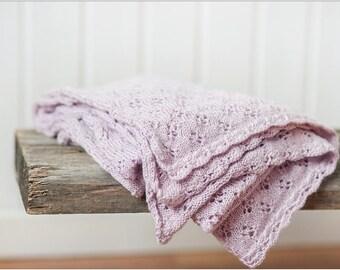 NEW! Powder pink baby alpaca silk blanket - Baby shower gift - Girl bedding - Rose throw - Rose blanket - Knitted baby blanket -Kids blanket